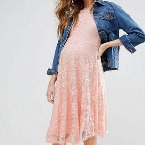 ASOS Maternity Pink Lace Dress Flutter Sleeve